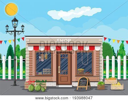 Daily products shop. Local fruit and vegetables store building. Groceries crates in front of storefront. Fair, trees, grass, clouds, sun. Vector illustration in flat style