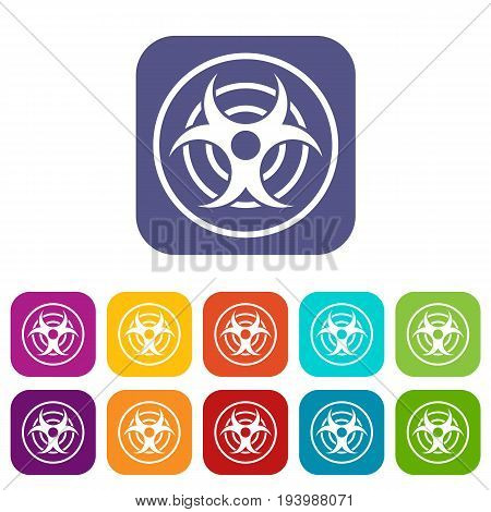 Sign of biological threat icons set vector illustration in flat style In colors red, blue, green and other