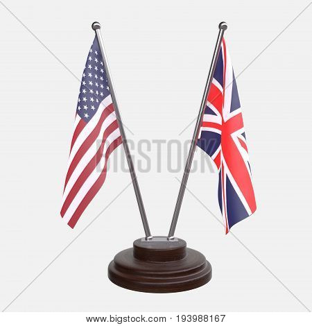 USA and Great Britain, two table flags isolated on white background. 3d image