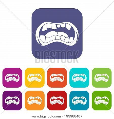 Zombie mouth icons set vector illustration in flat style In colors red, blue, green and other