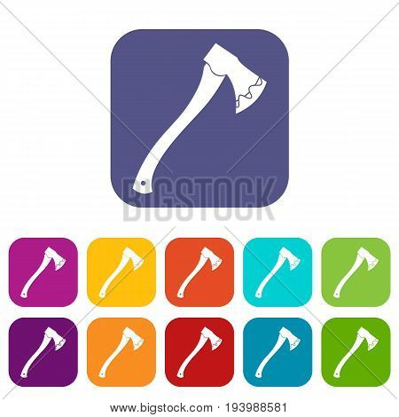 Axe In blood icons set vector illustration in flat style In colors red, blue, green and other