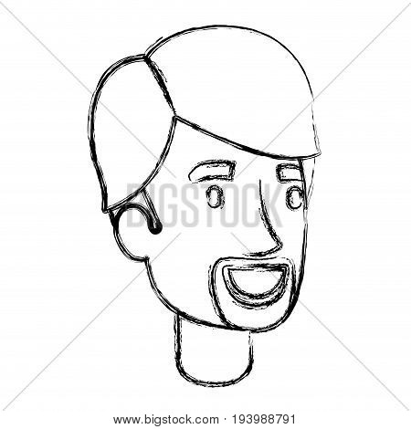 blurred silhouette of young man face with hair and van dyke beard vector illustration