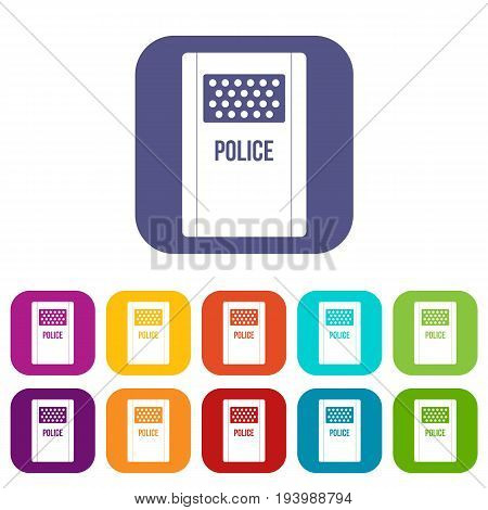 Riot shield icons set vector illustration in flat style In colors red, blue, green and other