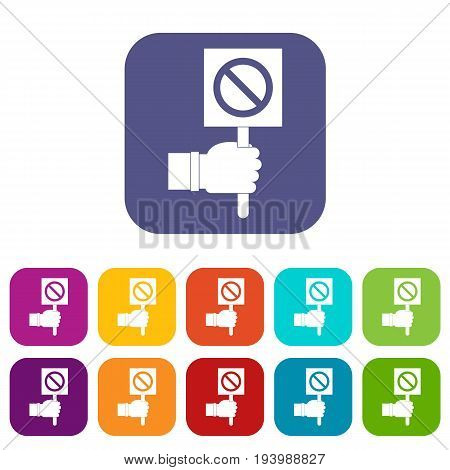 Hand showing stop signboard icons set vector illustration in flat style In colors red, blue, green and other