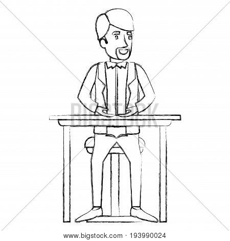 blurred silhouette of man in formal suit and van dyke beard and sitting in chair in desktop vector illustration