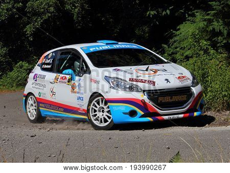 La Spezia Italy - July 2 2017 -Rally Gulf of Poets: The Peugeot 208 of the Montanari-Costi crew during the first special race speed test.