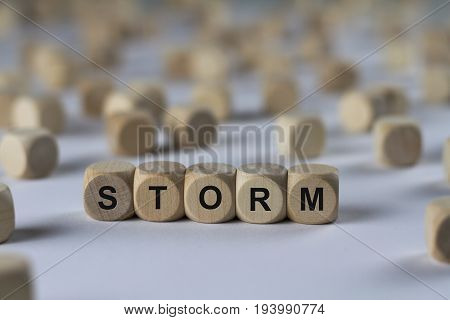 Storm - Cube With Letters, Sign With Wooden Cubes