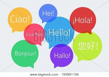 Colored speech bubbles with the text Hello in different languages. English German French Spanish Japanese Chinese Finnish Italian. Vector illustration. Light background. Eps10.