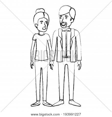 blurred silhouette of man and woman standing and her with hair collected and him in casual clothes and beard van dyke vector illustration