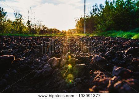 Black Soil Plowed Field Through The Sun's Rays