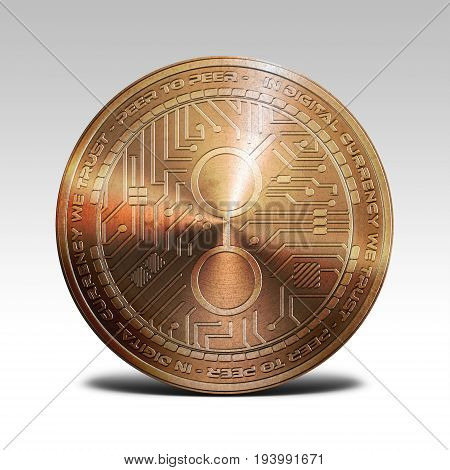copper golem coin isolated on white background 3d rendering illustration