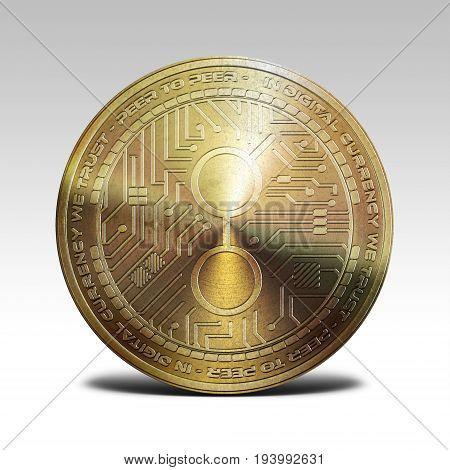 golden golem coin isolated on white background 3d rendering illustration