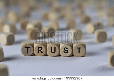 Trust - Cube With Letters, Sign With Wooden Cubes