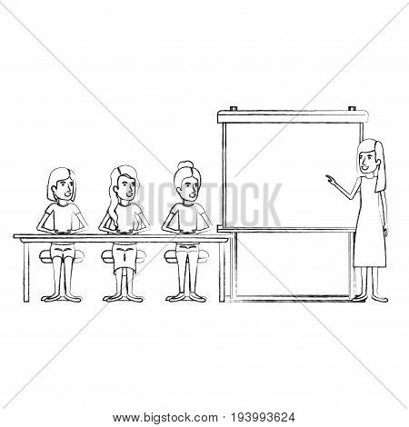 blurred silhouette women group sitting in a desk for executive female in presentacion business people vector illustration