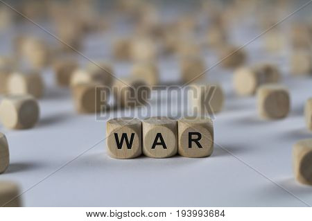 War - Cube With Letters, Sign With Wooden Cubes