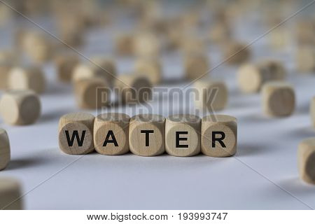 Water - Cube With Letters, Sign With Wooden Cubes