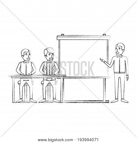 blurred silhouette pair of man sitting in a desk for executive lecturer in presentacion business people vector illustration