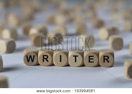Writer - Cube With Letters, Sign With Wooden Cubes