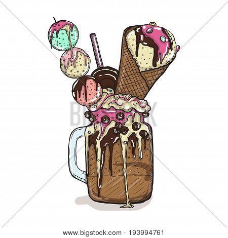 cartoon Style Milkshake with cookies chocolate sweets and ice cream. Hand Drawn Creative Dessert Isolated. Vector illustration.