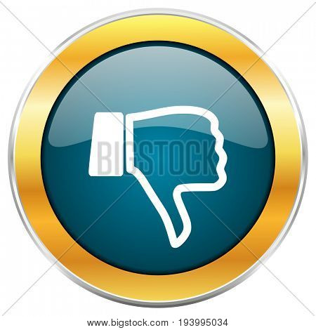 Dislike blue glossy round icon with golden chrome metallic border isolated on white background for web and mobile apps designers.