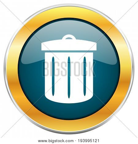 Recycle blue glossy round icon with golden chrome metallic border isolated on white background for web and mobile apps designers.