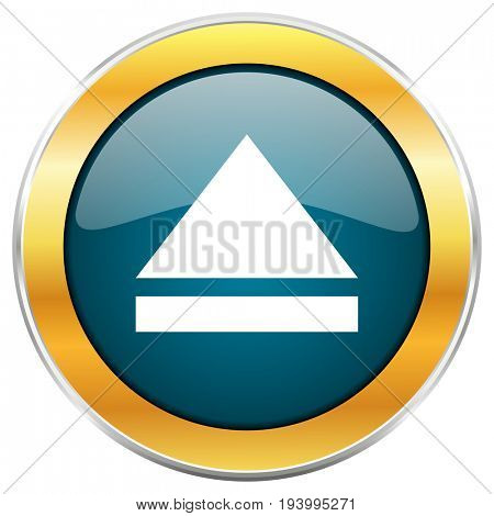 Eject blue glossy round icon with golden chrome metallic border isolated on white background for web and mobile apps designers.