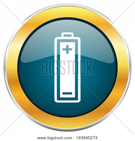 Battery blue glossy round icon with golden chrome metallic border isolated on white background for web and mobile apps designers.