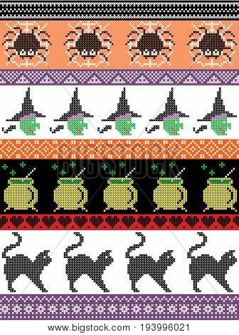 Scandinavian cross stitch and traditional American holiday  inspired seamless Halloween pattern with spider, spider web , witch, cat, cauldron  and decorative ornaments in purple, orange, black, yellow