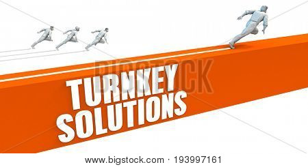 Turnkey Solutions Express Lane with Business People Running 3D Illustration Render