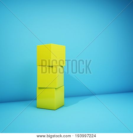 Abstract geometric image with yellow cubes on blue background. 3D illustration.