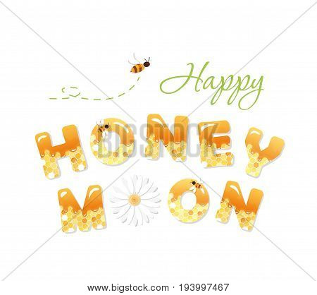 Happy honeymoon letters. Pattern with honeycomb is full under clipping mask. vector