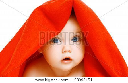 Portrait close-up of face cute baby under red towel on a white background