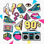 Memphis Fashion patch badges with lips, sneakers, banana, triangle, etc. Vector illustration isolated on white background. Set of stickers, pins, patches in trendy 80s-90s memphis style. poster