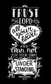 Hand lettering Trust in the Lord with your heart. Biblical background. Christian poster. New Testament. Scripture. Card. Modern calligraphy Proverbs poster