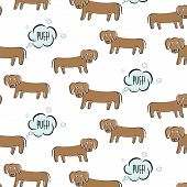 Funny vector dachshund illustration. Dog fart with surprised face. Cartoon puppy making gas, bad smell humor print. Ugly small domestic pet figure, poster