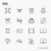 Quadcopter, flying drone, remote control, front and side view, camera thin line icons set. Vector illustration. poster