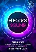 Electro sound party music poster. Electronic club deep music. Musical event disco trance sound. Night party invitation. DJ flyer poster. poster
