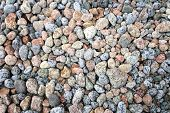 Natural pastel colors beach stones covered in raindrops. poster