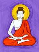Vector design of Vintage statue of Indian Lord Buddha sculpture one of avatar from the Dashavatara of Vishnu engraved on stone poster