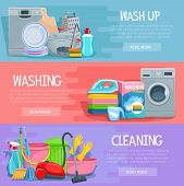 Home cleaning, dish and laundry washing banners set. Vector design of fresh linen, washing machine and kitchenware washer, vacuum cleaner, mopping sponge and glass cleaner or garbage bin and detergent poster