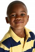 Adorable 5 year old African American boy against white background. poster