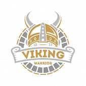 Viking isolated label with horned helmet. Scandinavian viking warrior badge, medieval barbarian emblem, nordic culture vector illustration. poster