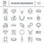 Jewelry flat line icons, jewellery store signs. Jewels accessories - gold engagement rings, gem earrings, silver chain, engraving necklaces, brilliants. Thin linear signs for fashion store. poster
