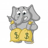 Elephant cute Nick. Big collection vector cartoon characters of elephants on an isolated background. Lot of money. Holds bags with money. EPS 10. poster