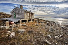 beautiful cold old house in greenland fjord.