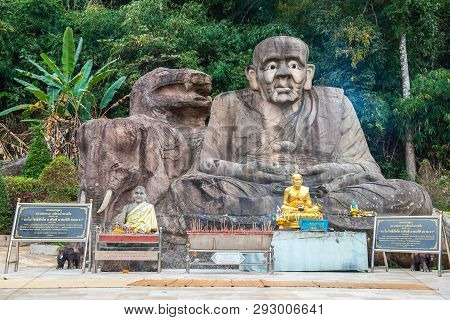 Sakon Nakhon, Thailand, January 19,2019: Golden Pagoda Sculpture, Buddha Statue And Stone Carving At