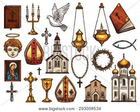 Orthodox And Catholic Or Evangelic And Protestant Christianity Religion Symbols. Vector Isolated Ske
