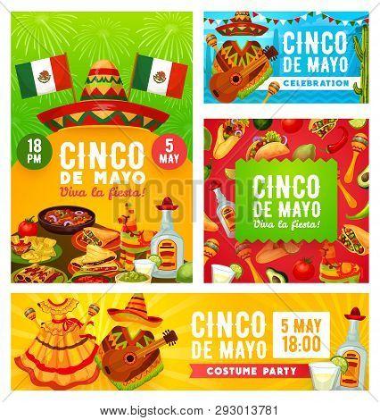 Cinco De Mayo Mexican Holiday Celebration Party. Vector Cinco De Mayo Traditional Party Costumes Mex