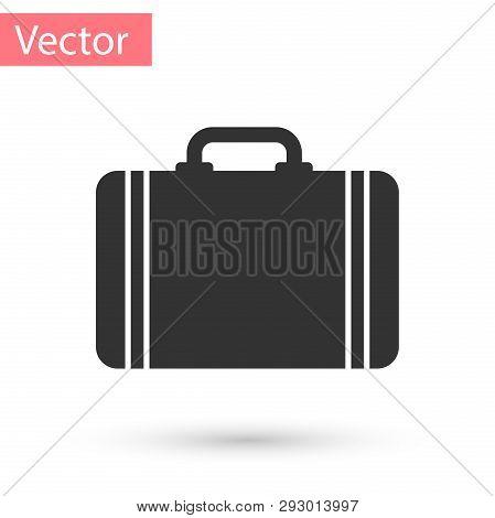 Grey Suitcase For Travel Icon Isolated On White Background. Traveling Baggage Sign. Travel Luggage I