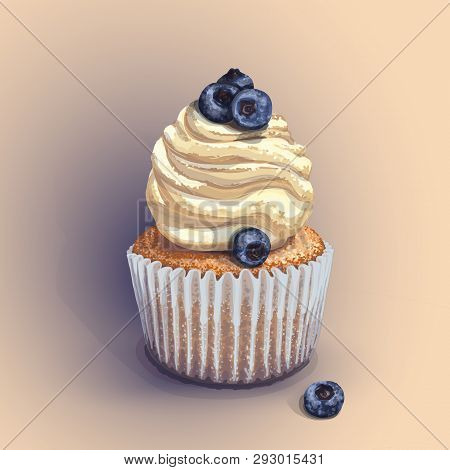 Vector Of A Crumbly, Gentle Wet Biscuit Cupcake With A Stunning Cream Soft Air Cheese Cream, Taste C
